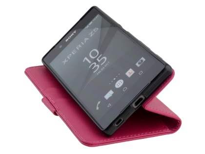 Slim Synthetic Leather Wallet Case with Stand for Sony Xperia Z5 - Pink