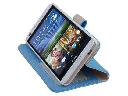 Synthetic Leather Wallet Case with Stand for HTC Desire 626 - Sky Blue