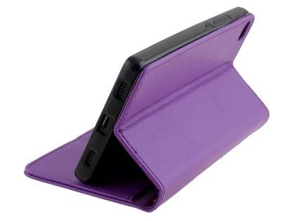 Synthetic Leather Wallet Case with Stand for Huawei P8 - Purple