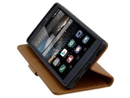 Synthetic Leather Wallet Case with Stand for Huawei P8 - Brown