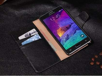 Top Grain Leather Wallet Case With Stand for Samsung Galaxy Note 4 - Classic Black