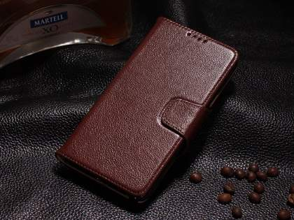 Top Grain Leather Wallet Case With Stand for Samsung Galaxy Note 4 - Rosewood