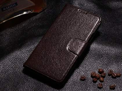 Top Grain Leather Wallet Case With Stand for Samsung Galaxy Note 4 - Dark Brown Leather Wallet Case
