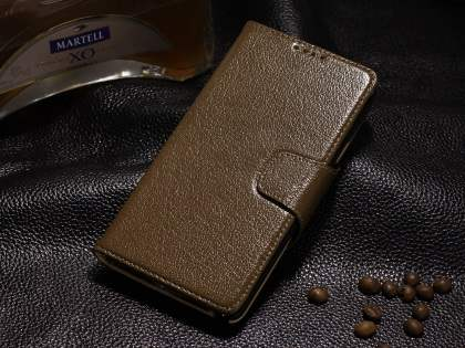 Top Grain Leather Wallet Case With Stand for Samsung Galaxy Note 4 - Dark Khaki Leather Wallet Case