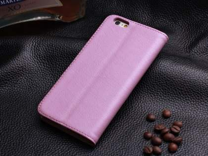 Book-Style Premium Leather Flip Case for iPhone 6s/6 - Baby Pink
