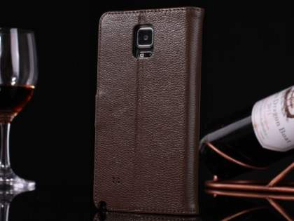 Premium Leather Wallet Case for Samsung Galaxy Note 4 - Brown Leather Wallet Case