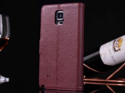 Premium Leather Wallet Case for Samsung Galaxy Note 4 - Rosewood