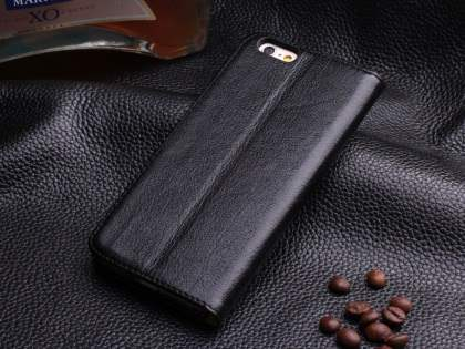 Book-Style Premium Leather Flip Case for iPhone 6s/6 4.7 inches - Classic Black