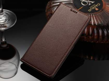 Premium Leather Wallet Case for Sony Xperia Z5 - Brown Leather Wallet Case