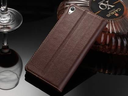 Premium Leather Wallet Case for Sony Xperia Z5 - Brown