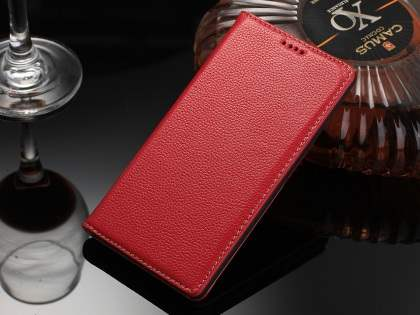 Premium Leather Wallet Case for Sony Xperia Z5 - Red Leather Wallet Case