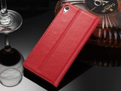 Premium Leather Wallet Case for Sony Xperia Z5 - Red