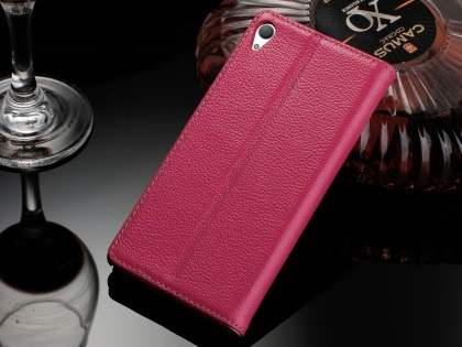 Premium Leather Wallet Case for Sony Xperia Z5 - Pink