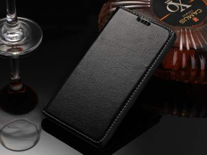Premium Leather Wallet Case for Sony Xperia Z5 - Classic Black