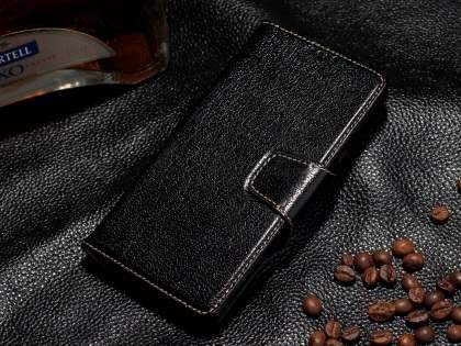 Top Grain Leather Wallet Case With Stand for Samsung Galaxy Note 5 - Classic Black Leather Wallet Case
