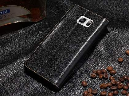 Top Grain Leather Wallet Case With Stand for Samsung Galaxy Note 5 - Classic Black