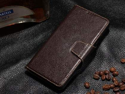 Top Grain Leather Wallet Case With Stand for Samsung Galaxy Note 5 - Dark Brown Leather Wallet Case