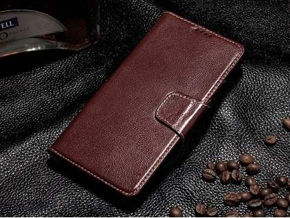 Top Grain Leather Wallet Case With Stand for Samsung Galaxy Note 5 - Rosewood