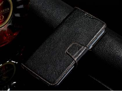 Top Grain Leather Wallet Case With Stand for Samsung Galaxy S6 Edge Plus - Classic Black