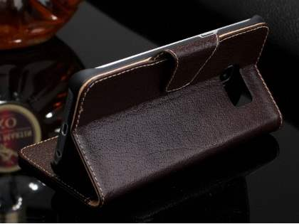 Top Grain Leather Wallet Case With Stand for Samsung Galaxy S6 Edge Plus - Dark Brown