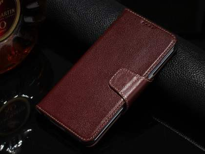 Top Grain Leather Wallet Case With Stand for Samsung Galaxy S6 Edge Plus - Rosewood Leather Wallet Case