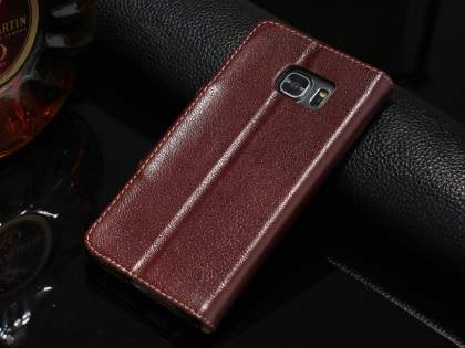 Top Grain Leather Wallet Case With Stand for Samsung Galaxy S6 Edge Plus - Rosewood Leather Wallet Case for Samsung