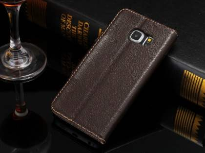 Top Grain Leather Wallet Case With Stand for Samsung Galaxy S6 Edge - Dark Brown