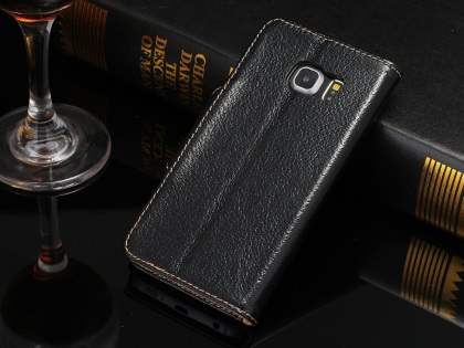 Top Grain Leather Wallet Case With Stand for Samsung Galaxy S6 Edge - Classic Black