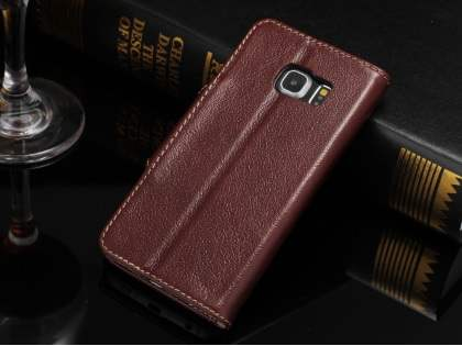 Top Grain Leather Wallet Case With Stand for Samsung Galaxy S6 Edge - Rosewood