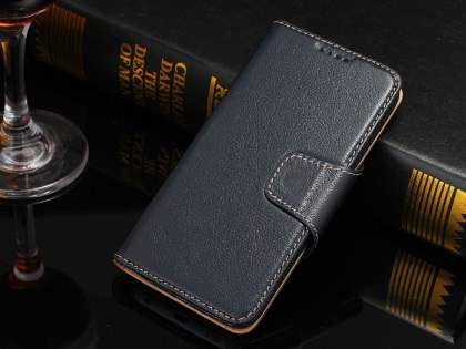 Top Grain Leather Wallet Case With Stand for Samsung Galaxy S6 Edge - Midnight Blue Leather Wallet Case