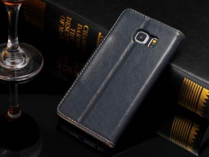 Top Grain Leather Wallet Case With Stand for Samsung Galaxy S6 Edge - Midnight Blue
