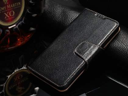 Top Grain Leather Wallet Case With Stand for Samsung Galaxy S6 - Classic Black Leather Wallet Case