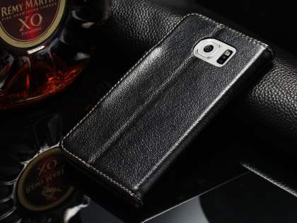 Top Grain Leather Wallet Case With Stand for Samsung Galaxy S6 - Classic Black