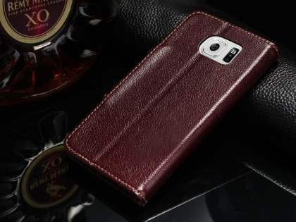 Top Grain Leather Wallet Case With Stand for Samsung Galaxy S6 - Rosewood