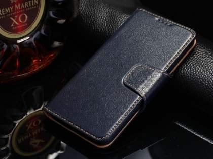 Top Grain Leather Wallet Case With Stand for Samsung Galaxy S6 - Midnight Blue Leather Wallet Case
