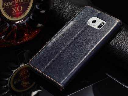 Top Grain Leather Wallet Case With Stand for Samsung Galaxy S6 - Midnight Blue