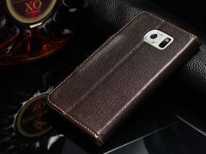 Top Grain Leather Wallet Case With Stand for Samsung Galaxy S6 - Dark Brown