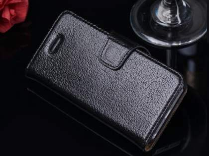 Top Grain Leather Wallet Case With Stand for iPhone SE/5s/5 - Classic Black Leather Wallet Case