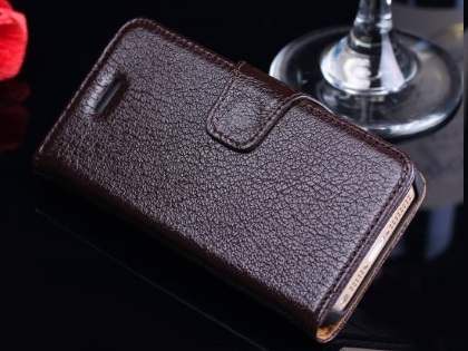 Top Grain Leather Wallet Case With Stand for iPhone SE/5s/5 - Dark Brown Leather Wallet Case