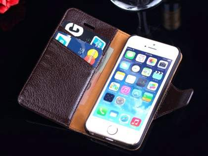Top Grain Leather Wallet Case With Stand for iPhone SE/5s/5 - Dark Brown