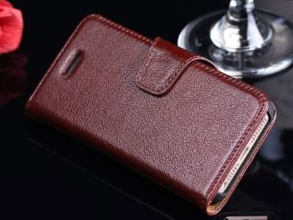 Top Grain Leather Wallet Case With Stand for iPhone SE/5s/5 - Rosewood Leather Wallet Case