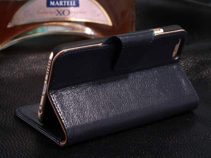 Top Grain Leather Wallet Case With Stand for iPhone 6s/6 4.7 inches - Midnight Blue