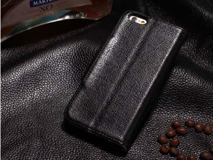 Top Grain Leather Wallet Case With Stand for iPhone 6s/6 4.7 inches - Classic Black Leather Wallet Case for Apple