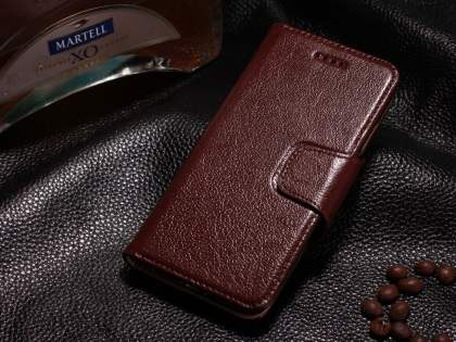 Top Grain Leather Wallet Case With Stand for iPhone 6s Plus/6 Plus - Rosewood Leather Wallet Case