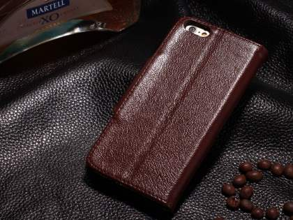 Top Grain Leather Wallet Case With Stand for iPhone 6s Plus/6 Plus - Rosewood