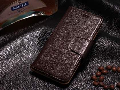 Top Grain Leather Wallet Case With Stand for iPhone 6s Plus/6 Plus - Dark Brown Leather Wallet Case