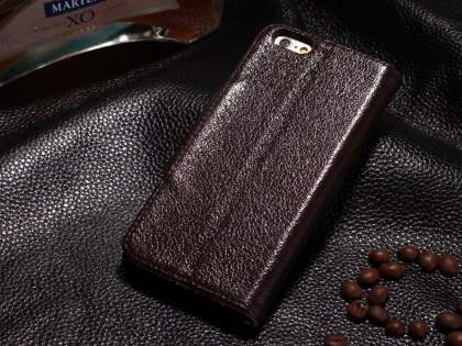 Top Grain Leather Wallet Case With Stand for iPhone 6s Plus / 6 Plus - Dark Brown