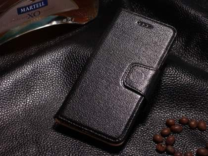 Top Grain Leather Wallet Case With Stand for iPhone 6s Plus/6 Plus - Classic Black Leather Wallet Case