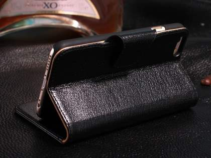 Top Grain Leather Wallet Case With Stand for iPhone 6s Plus/6 Plus - Classic Black