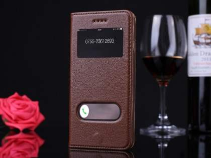 Premium Leather Case With Windows for iPhone 6s Plus/6 Plus - Brown Leather Wallet Case